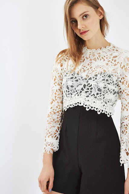 cream lace top playsuit, topshop cream lace top playsuit,