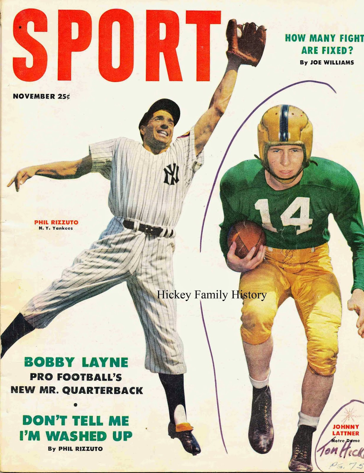 "Nov  1953: Thomas Hickey Quoted in ""Sport"" Magazine's Article about"