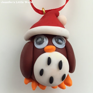 Polymer clay owl Christmas decoration
