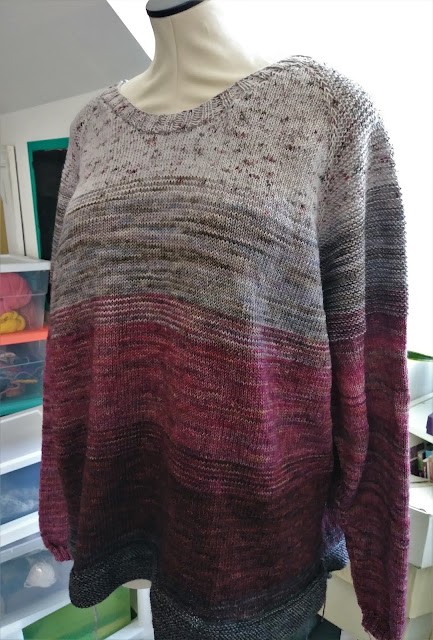 finished knitting my So Faded sweater with Knit Picks Hawthorne yarn