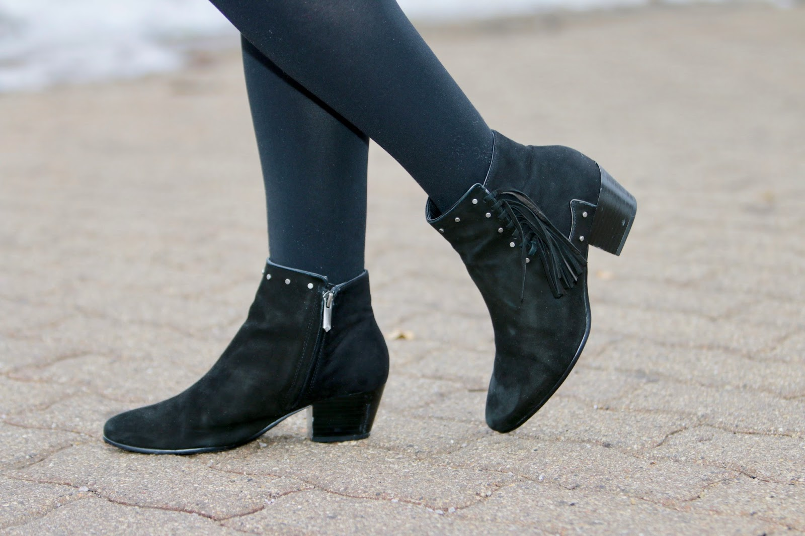 sam edelman fringe black booties pics