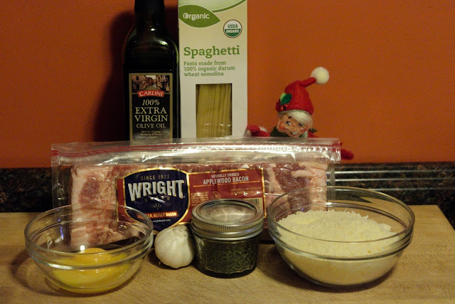 A picture of the ingredients that are needed to make the Spaghetti Carbonara recipe.
