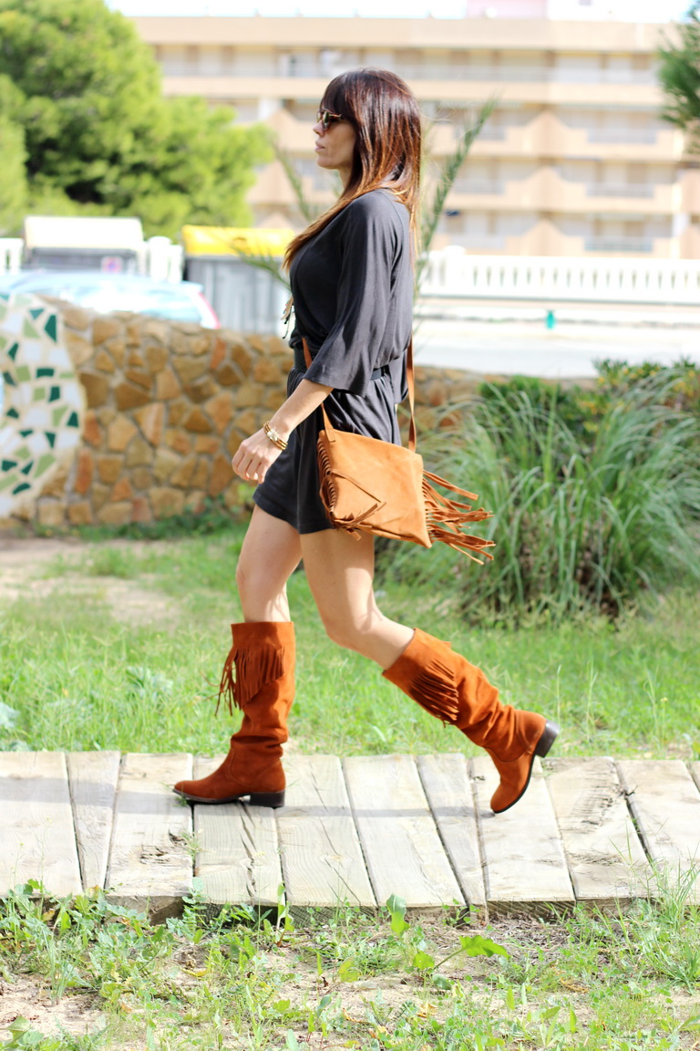 Tabatha shoes, calzado nacional, made in spain, botas piel, botas flecos