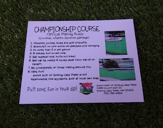 Scorecard for the Championship course at Goony Golf of Spring Lake Park in Minnesota