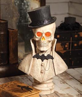skeleton bust Halloween decoration in black and white, Edgar Skeleton