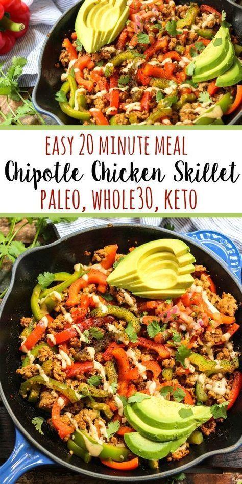 Whole30 Chipotle Chicken Skillet (Paleo, Keto, GF) #CHICKEN #SKILLET #PALEO #KETO #DINNER
