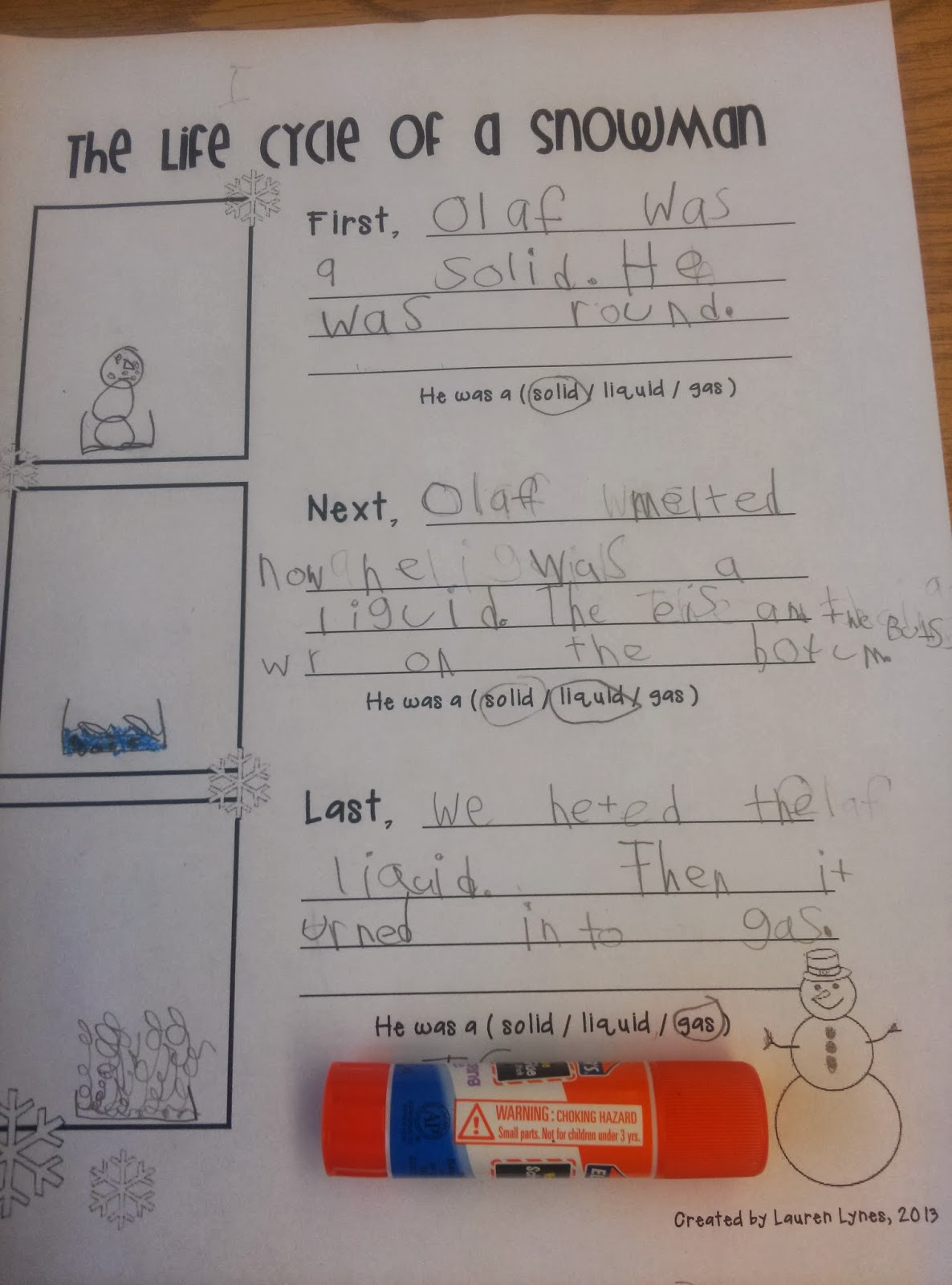 First Grade Is A Treat The Life Cycle Of A Snowman And