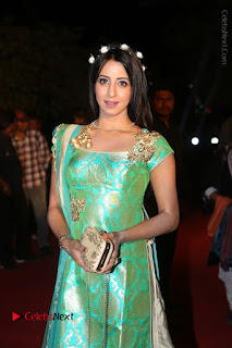 Actress Sanjjanaa Stills in Green Long Dress at Gemini TV Puraskaralu 2016 Event  0042.JPG
