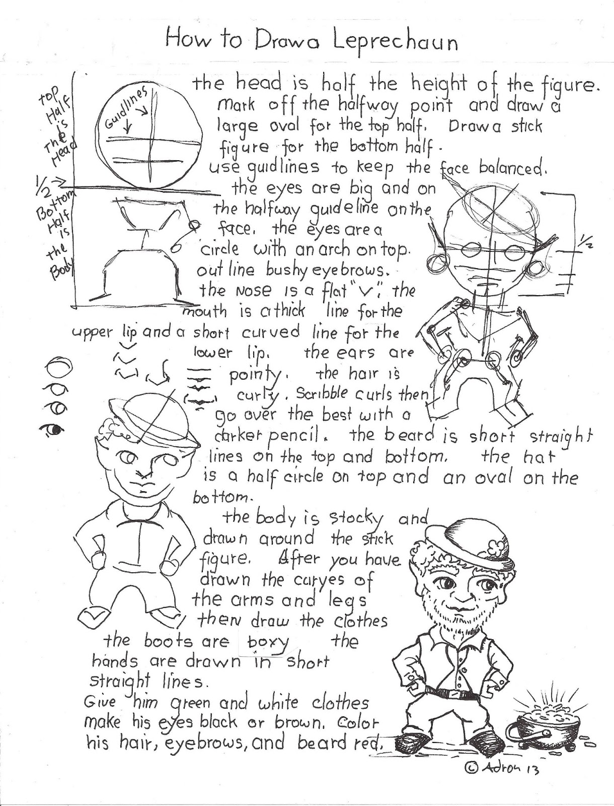 How To Draw Worksheets For The Young Artist How To Draw A Leprechaun