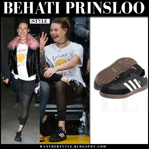 Behati Prinsloo in black Adidas sneakers adidas samba what she wore