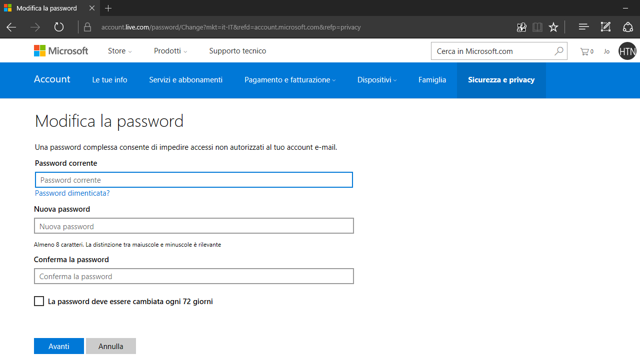 Impostare cambio password Account Microsoft Windows 10