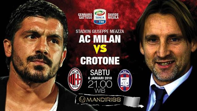 Prediksi Bola : AC Milan Vs Crotone , Sabtu 06 January 2018 Pukul 21.00 WIB