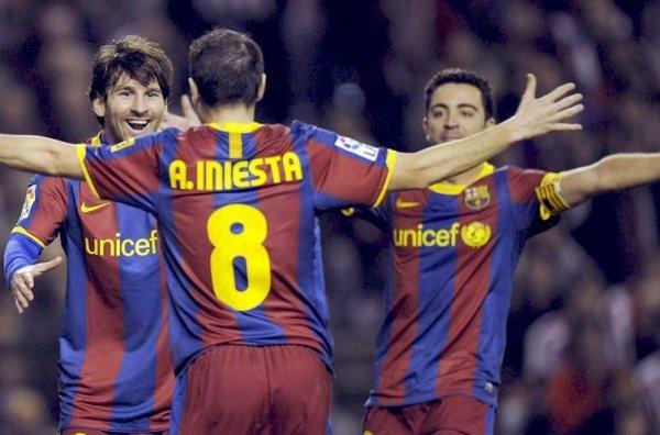 Messi, Iniesta y Xavi