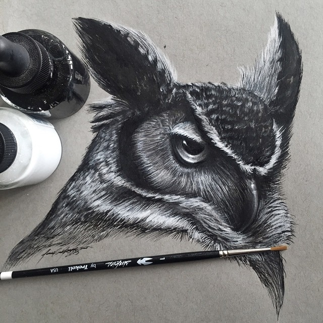 01-Horned-Owl-Jonathan-Martinez-Art-of-the-Endangered-Paintings-and-Drawings-www-designstack-co