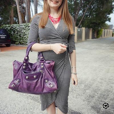 awayfromblue instagram spring workwear atmos&here arlete jersey black white wrap dress purple Balenciaga bag