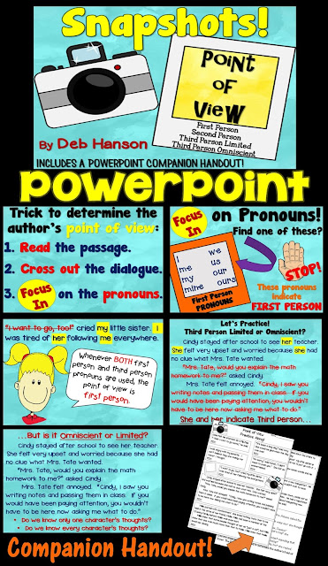 "This 67-slide PowerPoint is a step-by-step presentation that teaches students how to determine the author's point of view. First, students are shown how to determine whether a passage is 1st person, 2nd person, or 3rd person. Once they have had lots of practice with these passages, they are taught the difference between third person ""limited"" and ""omniscient""."