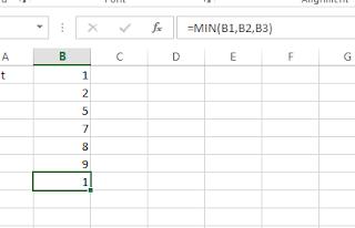 Microsoft Excel min formula