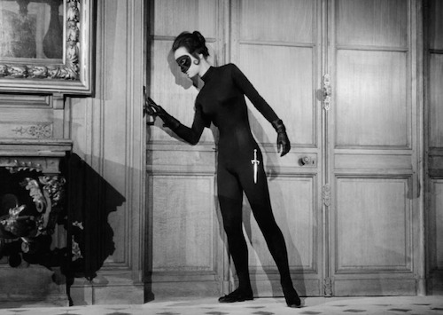 Still from 1963 film Judex, of a sneaky woman in a black mask
