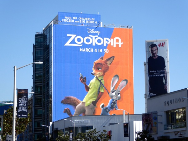 Giant Disney Zootopia movie billboard