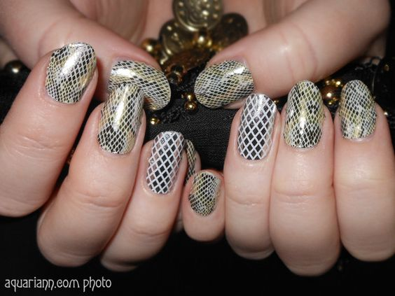Metallic Snakeskin Nail Art