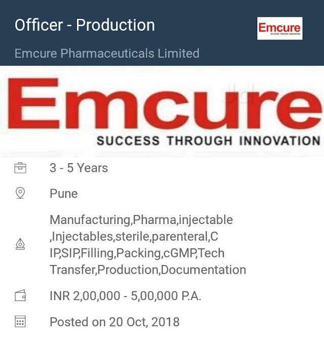 Emcure Pharmaceuticals   Urgent requirement for Production   Pune