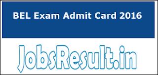 BEL Exam Admit Card 2016
