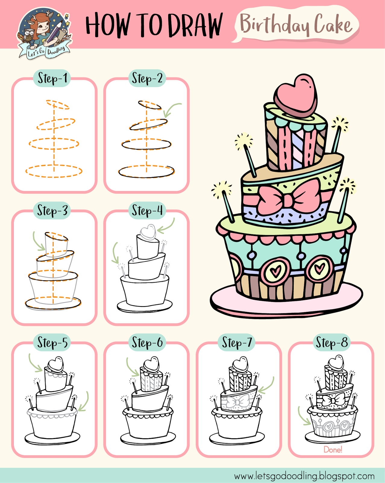 How To Draw Birthday Cake Easy Step By Step Drawing Tutorial