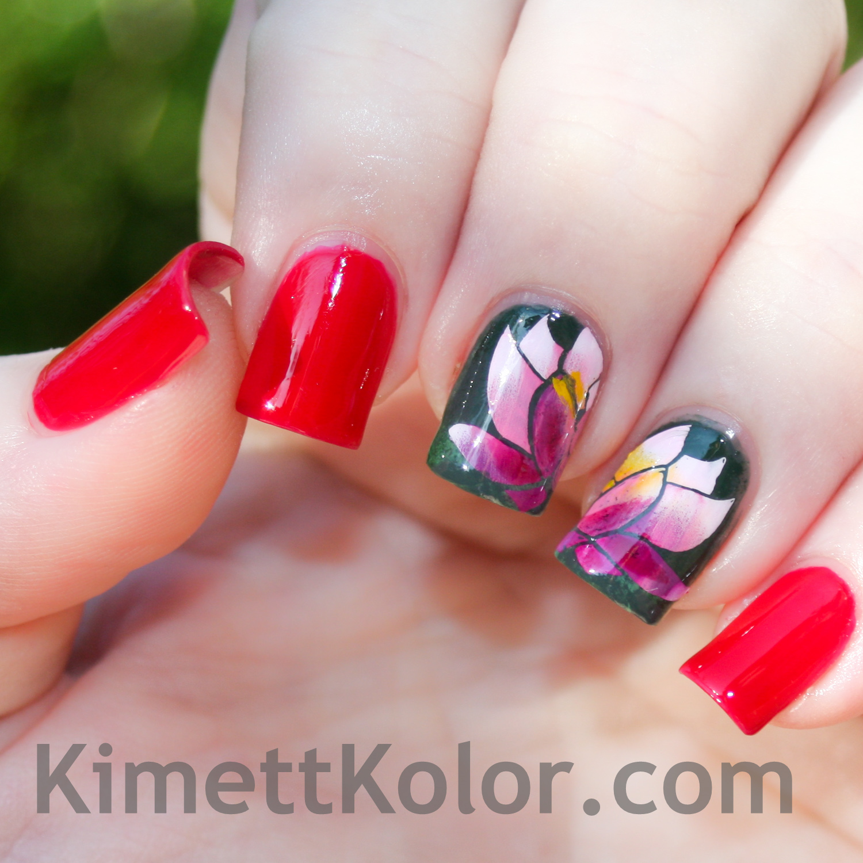 water lily stamping nail art
