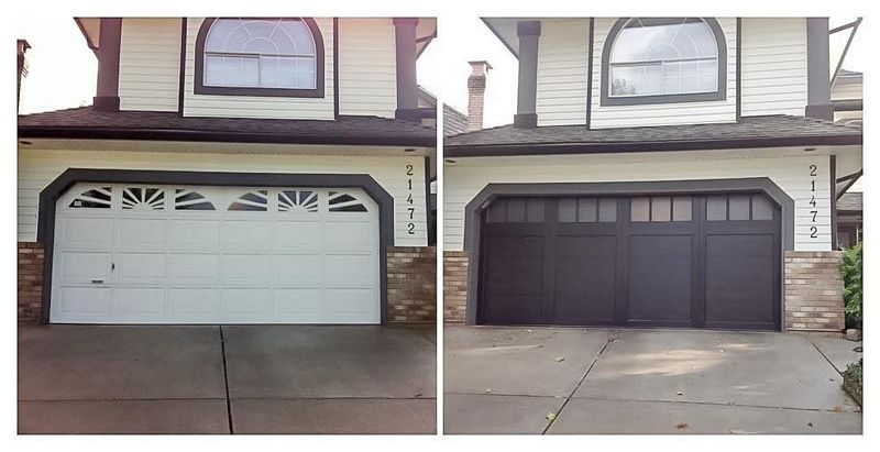 painting garage door before and after #3