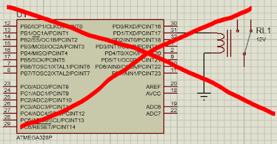 Wrong connection of relay with microcontroller