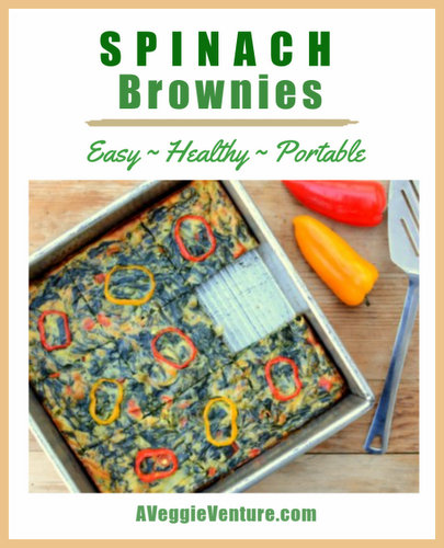 Spinach Brownies, another easy, healthy breakfast ♥ A Veggie Venture. Fresh & Flexible. Year-Round Kitchen Staple. Great for Meal Prep. Weight Watchers Friendly. Low Carb. Low Cal. Vegetarian.