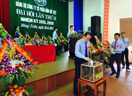 Các đảng viên tiến hành bầu cử tại Đại hội.