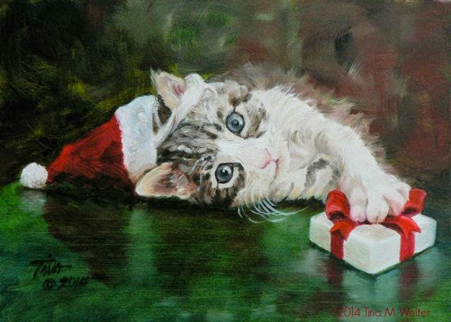 """The Perfect Gift"" 5""x 7"" oil on gessobord, © 2014 Tina M. Welter Christmas kitten with Santa hat and gift."