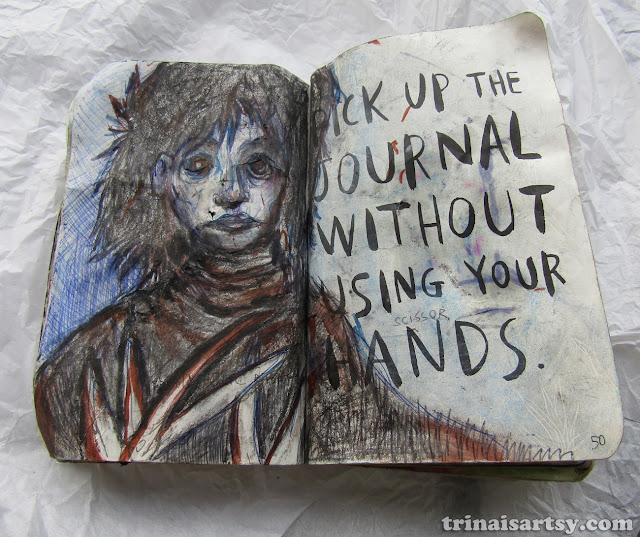 Wreck this Journal -  Pick up the journal without using your Edward Scissor hands