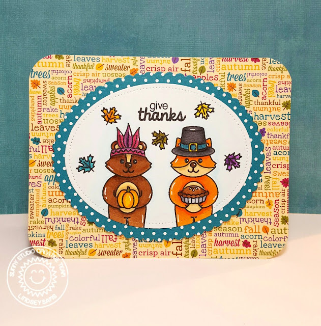 Sunny Studio Stamps: Woodsy Creatures Pilgrim & Indian Thanksgiving Card by Lindsey Sams.
