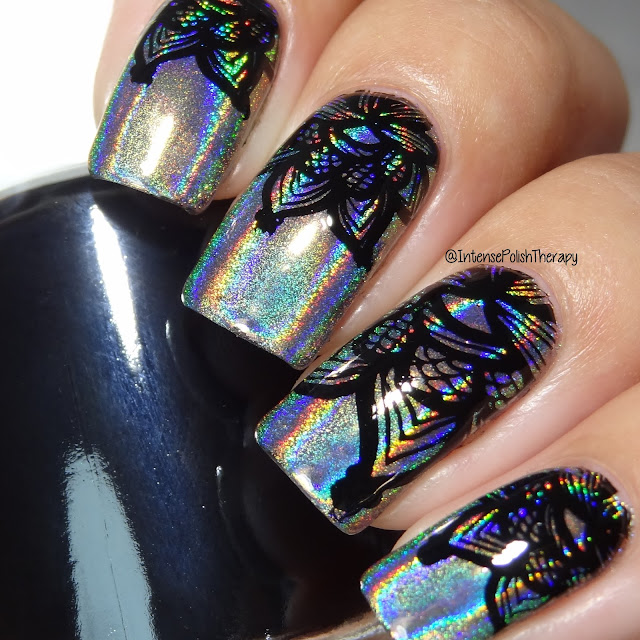 Silver Holo with a Black Lacey Floral