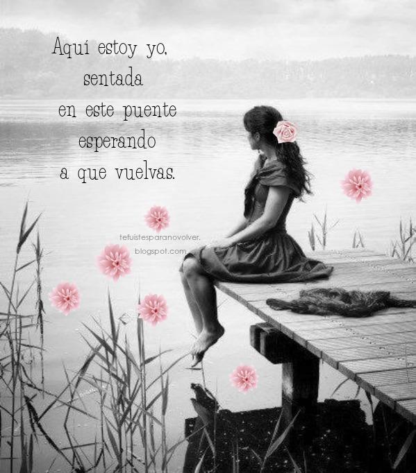 Hoy me siento vacía, nuestros caminos hoy dijeron adiós, tu ya no estas, todo nuestro amor se desvaneció en el túnel del silencio, y aquí estoy yo, sentada en este puente esperando a que vuelvas, esperando volver a escuchar uno de tus te amo, esperando a que me digas ven conmigo, esperando volver a ser tu princesa, esperándote a ti. Mis ojos cubiertos de una espesa capa de lágrimas recuerda como fue el sabor de tu ultimo beso, y no puedo evitar el sentirte cerca otra vez, al sentir que sigues siendo mío.... pero no es así, tu ya no estás.