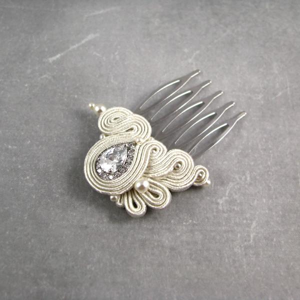 Delikatny grzebyk ślubny sutasz ivory z kryształami NOVIA BLANCA.
