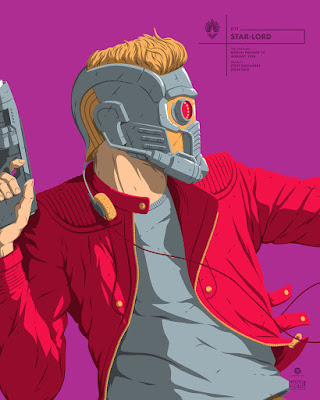 New York Comic Con 2017 Exclusive Star-Lord Marvel Faceoff Portrait Screen Prints by Florey x Grey Matter Art