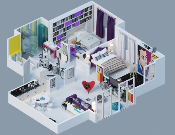 25 Desain dan Denah Apartemen 3D Minimalis