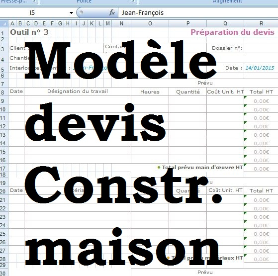 Mod le devis construction maison excel outils livres for Devis estimatif construction maison
