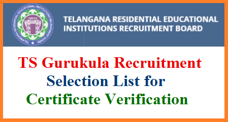 Telangana Residential Educational Institutions Recruitment Board release PGT TGT Selection List for certificate verification 2:1. Required documents for certificate verification Download Here . Telangana Gurukula Recruitment PGT TGT Selection list for Certificate verification Release on 5th January 2019. 2:1 Selected candidates should ready with the required Check List Documents on scheduled dates TS Gurukula PGT TGT Selection List Certificate verification dates Venues details treirb-ts-gurukula-pgt-tgt-certificate-verification-selection-list-documents-venues-dates-treirb.org