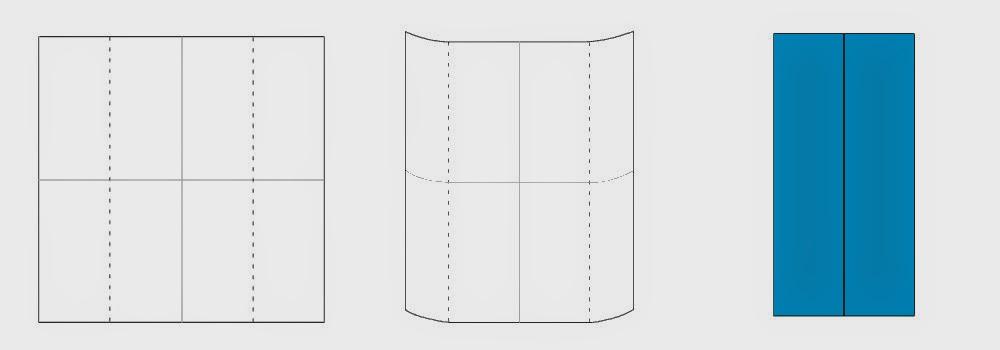 Bước 3: Gấp 2 mép tờ giấy lại với nhau sao cho 2 mép ngoài chạm vào nhau ở tâm tờ giấy. Ta được một hình chữ nhật.