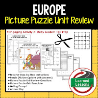 Europe, World Geography Picture Puzzle BUNDLE, Test Prep, Unit Review, Study Guide