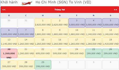 Giá vé máy bay tết đi Vinh hãng Vietjet Air