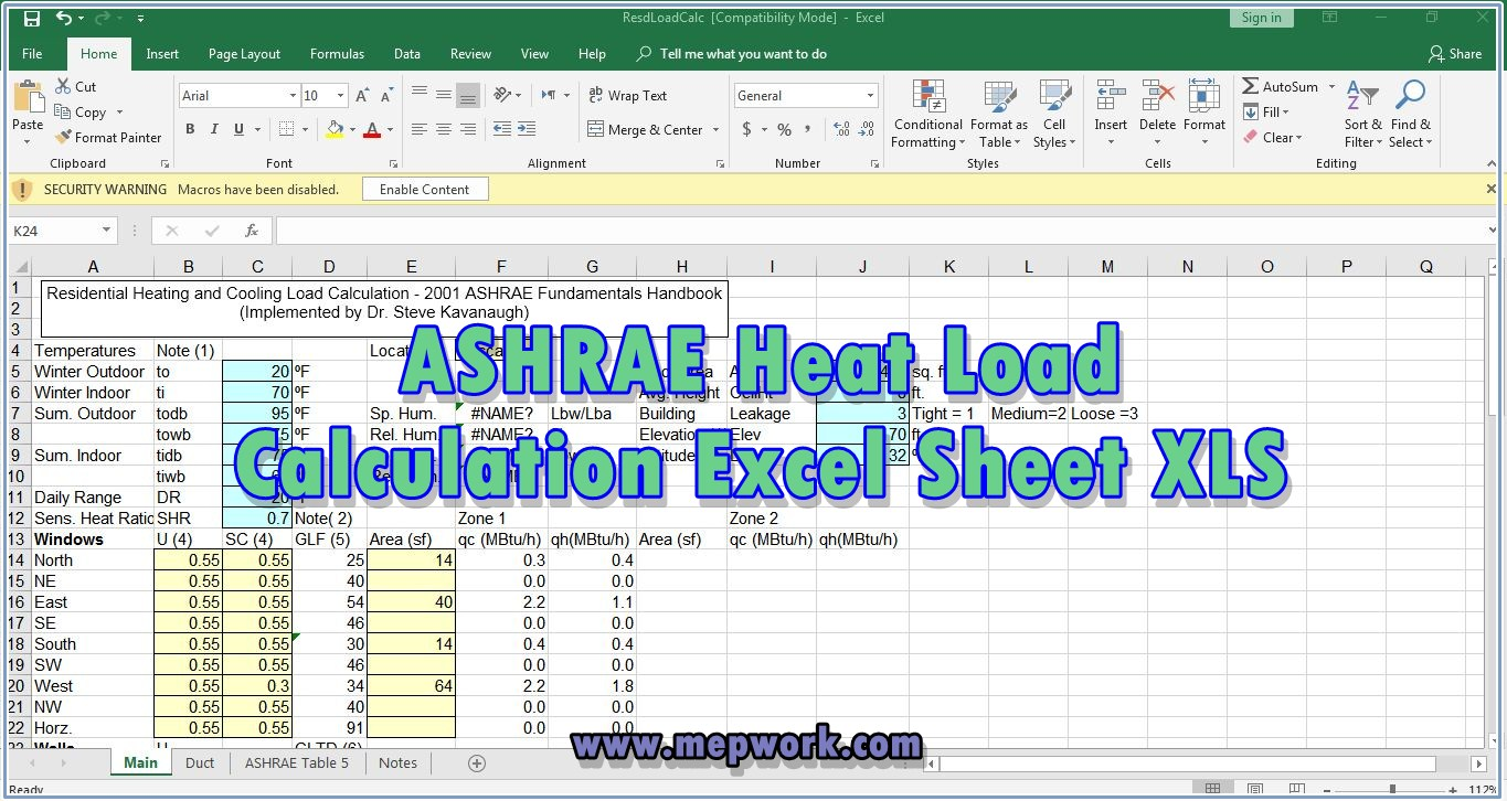 Download ASHRAE Heat Load Calculation Excel Sheet XLS