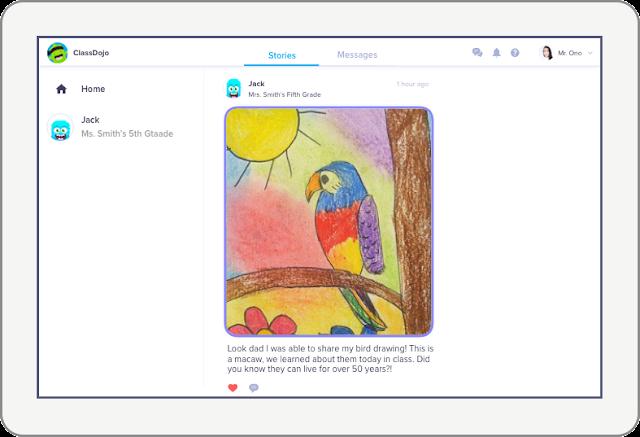 ClassDojo app on tablet