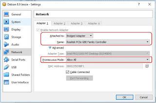 Konfigurasi Network di VirtualBox