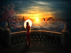 wallpapers fantasy desktop awesome backgrounds longing hd waiting computer dragon woman sunset background animated forest japan amazing japanese nature