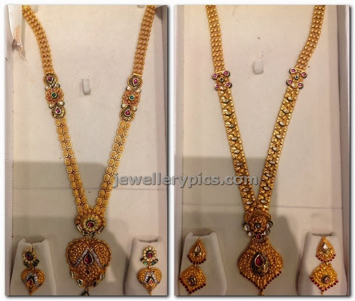 22 karat gold Antique long haram jewellery designs Latest